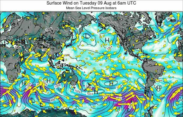 Global-Pacific Surface Wind on Friday 21 Jun at 12pm UTC