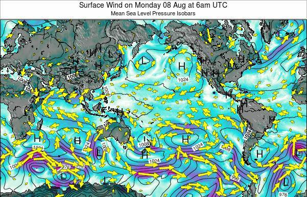 Global-Pacific Surface Wind on Wednesday 22 May at 12am UTC