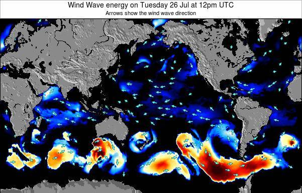 Global-Pacific Wind Wave energy on Saturday 25 May at 6am UTC