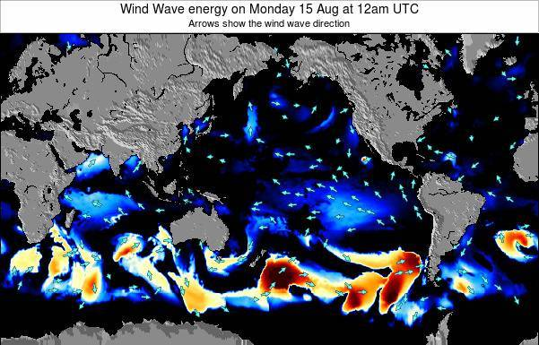 Global-Pacific Wind Wave energy on Wednesday 29 May at 12pm UTC