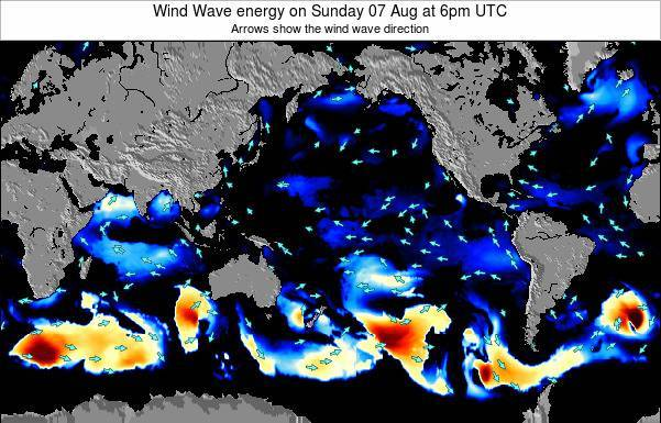 Global-Pacific Wind Wave energy on Saturday 25 May at 12pm UTC