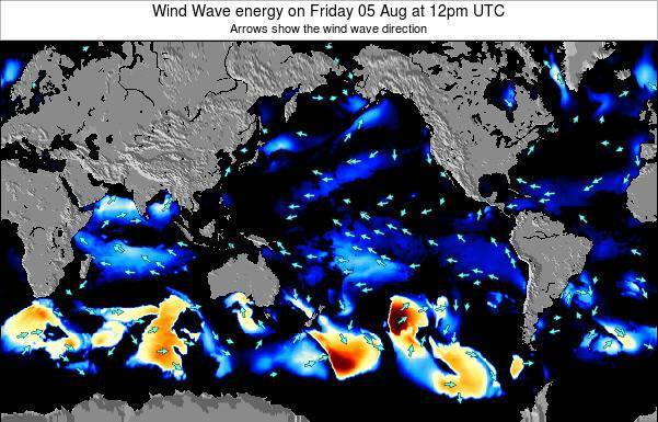 Global-Pacific Wind Wave energy on Tuesday 28 May at 6am UTC