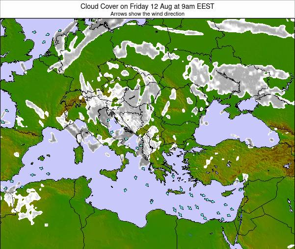 Albania Cloud Cover on Tuesday 28 May at 9pm EEST