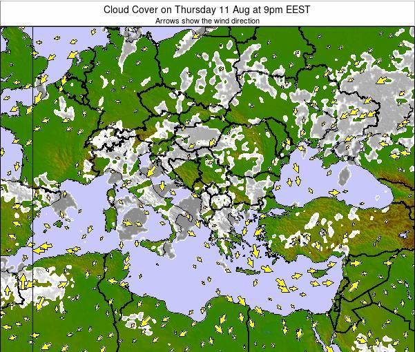 Greece Cloud Cover on Sunday 08 Dec at 8pm EET