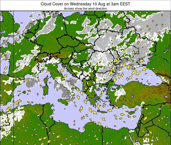 Greece Cloud Cover on Sunday 23 Jun at 3pm EEST