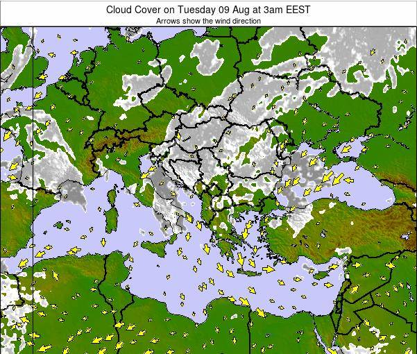 Greece Cloud Cover on Tuesday 29 Jul at 3pm EEST
