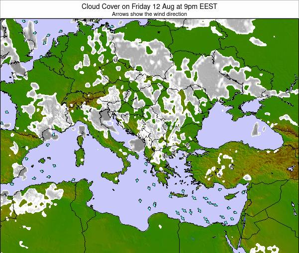 Greece Cloud Cover on Thursday 02 Mar at 8am EET