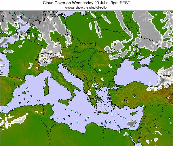 Greece Cloud Cover on Saturday 25 Apr at 9pm EEST