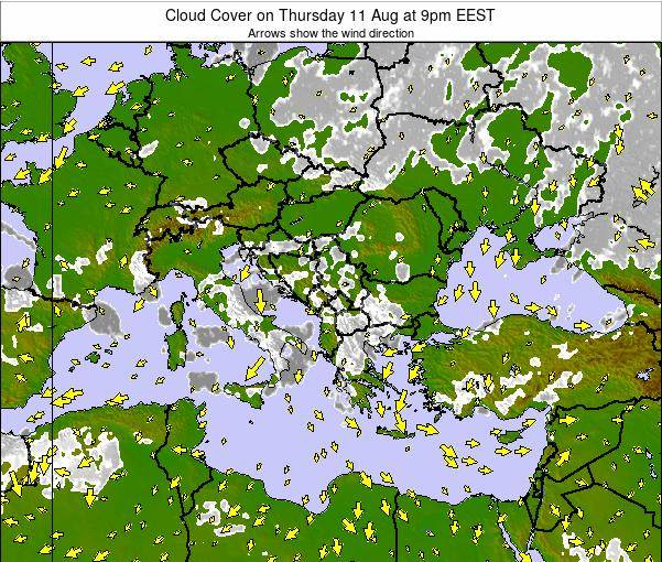 Greece Cloud Cover on Monday 28 Apr at 9pm EEST