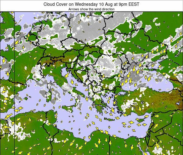 Greece Cloud Cover on Tuesday 17 Dec at 8pm EET