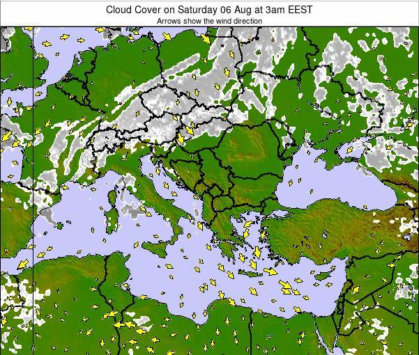 Greece Cloud Cover on Sunday 03 Aug at 3am EEST