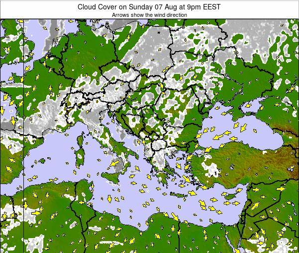 Greece Cloud Cover on Tuesday 22 Apr at 9pm EEST