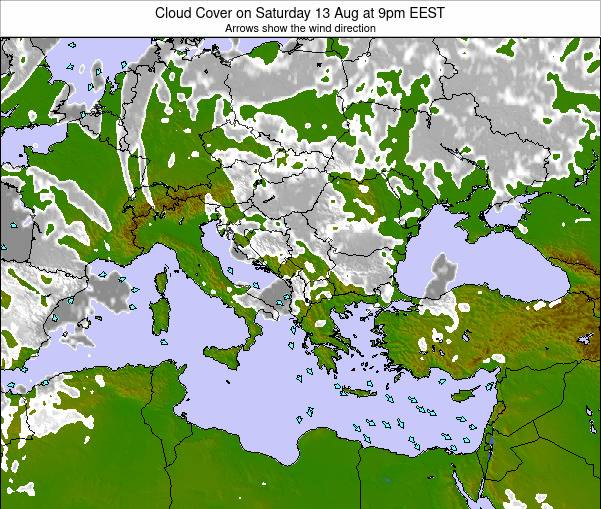 Albania Cloud Cover on Wednesday 23 Apr at 3am EEST