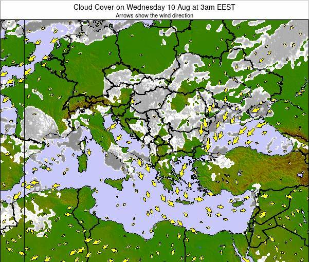 Bulgaria Cloud Cover on Tuesday 25 Jun at 9am EEST