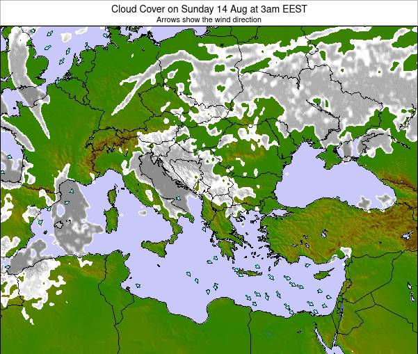 Albania Cloud Cover on Sunday 08 Mar at 8am EET