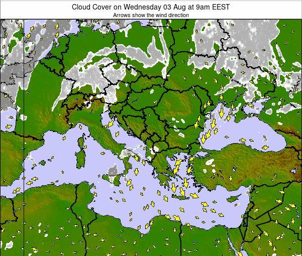 Albania Cloud Cover on Thursday 19 Dec at 8am EET
