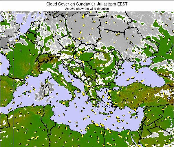 Albania Cloud Cover on Friday 14 Mar at 8am EET