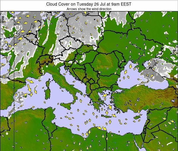 Albania Cloud Cover on Monday 06 Jul at 3am EEST