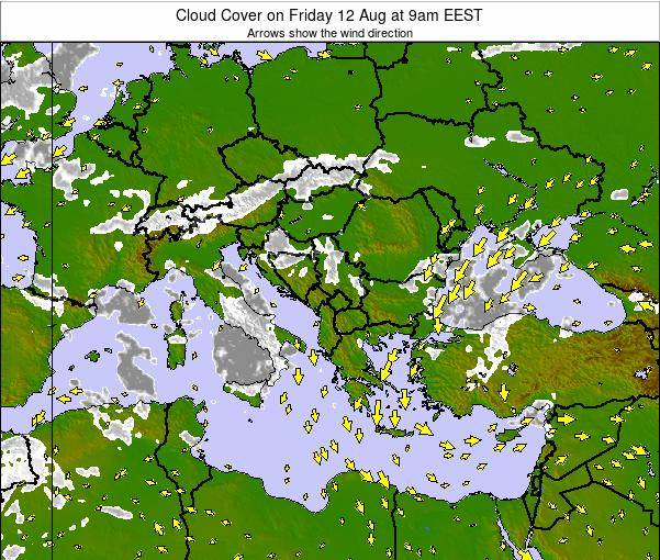Albania Cloud Cover on Thursday 04 Sep at 3am EEST