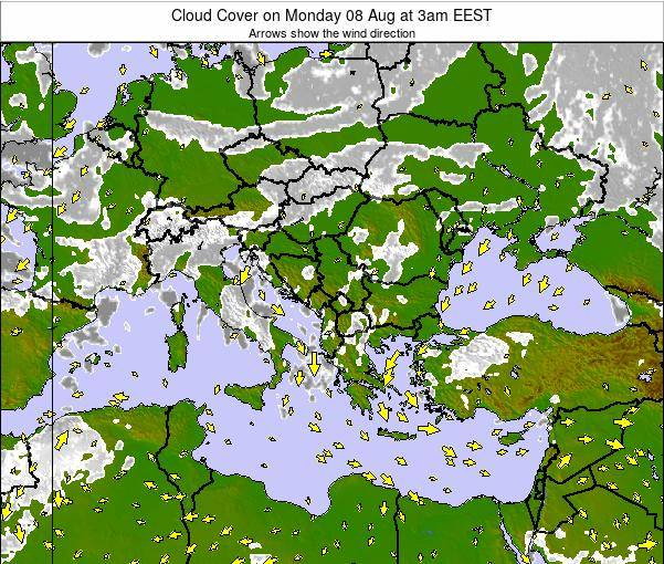 Albania Cloud Cover on Thursday 07 Aug at 9am EEST