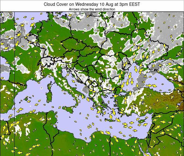 Albania Cloud Cover on Friday 07 Aug at 3pm EEST