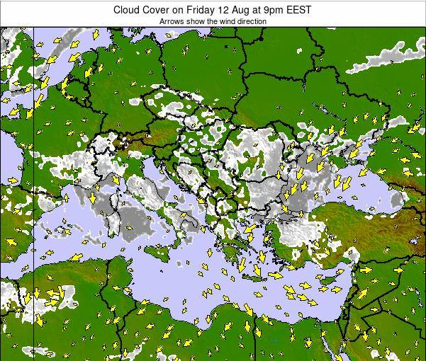 Albania Cloud Cover on Tuesday 22 Apr at 9am EEST