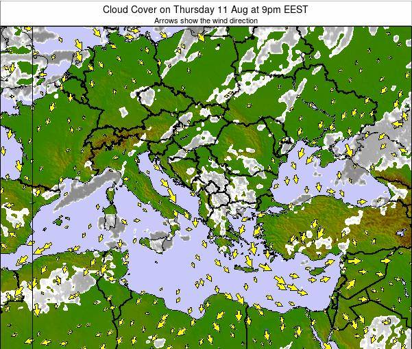 Bulgaria Cloud Cover on Saturday 25 May at 3am EEST