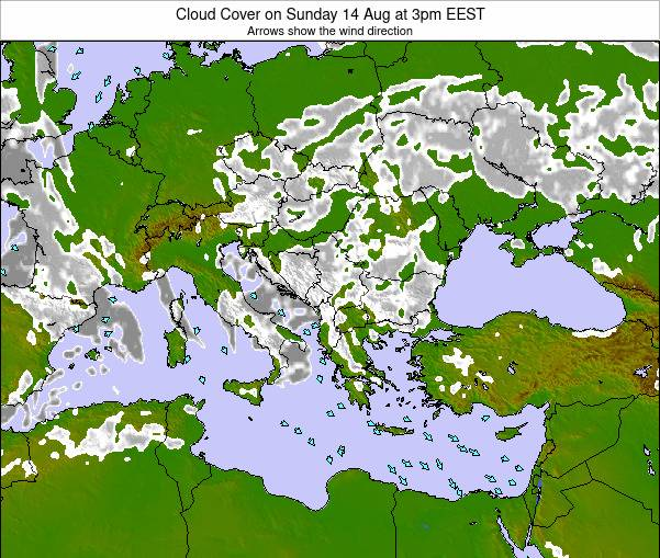 Albania Cloud Cover on Sunday 04 Mar at 2pm EET map