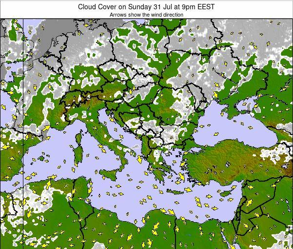 Bulgaria Cloud Cover on Monday 27 May at 9pm EEST