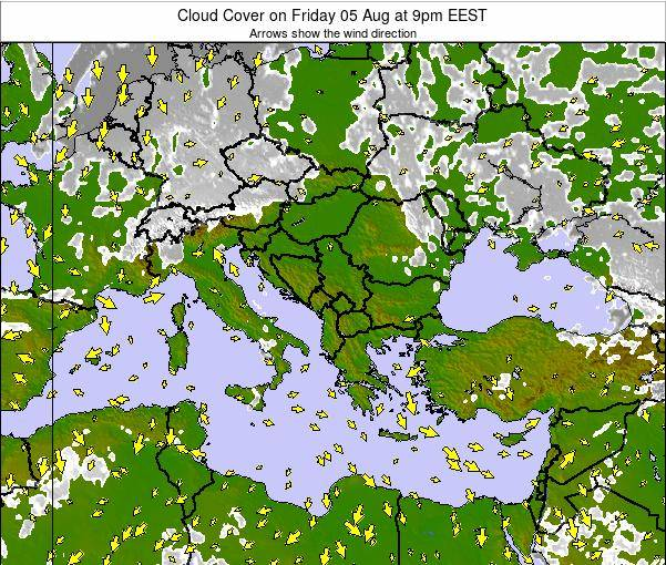 Albania Cloud Cover on Thursday 24 Apr at 9am EEST