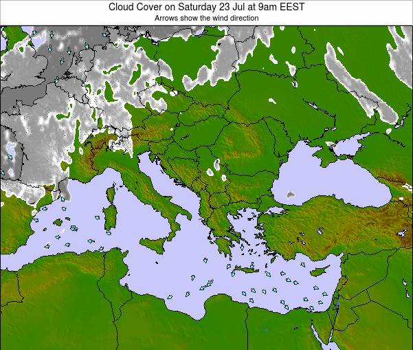 Albania Cloud Cover on Thursday 31 Jul at 9pm EEST