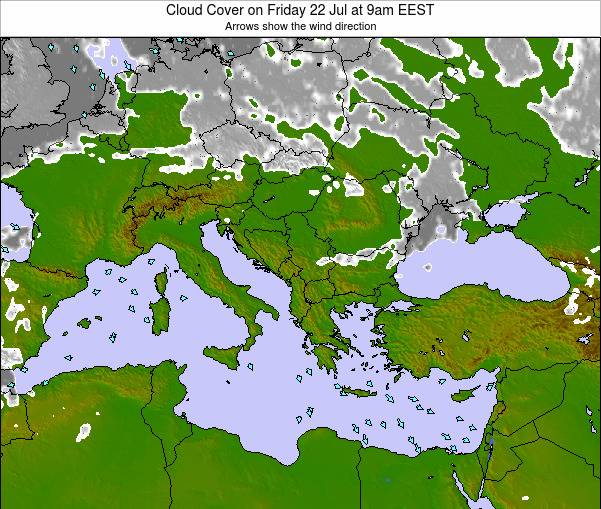 Albania Cloud Cover on Friday 08 Aug at 9am EEST