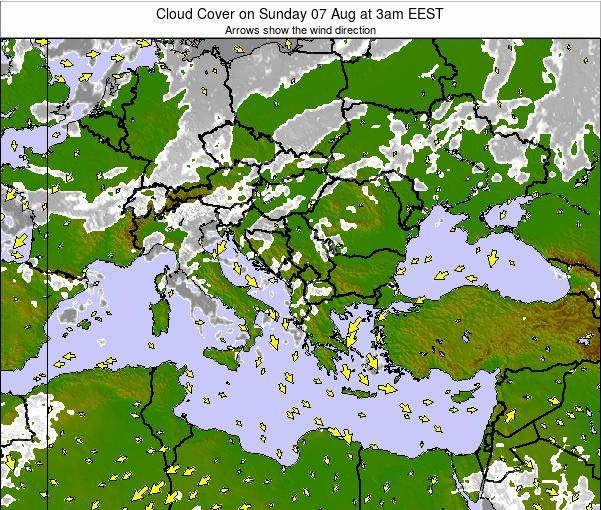 Albania Cloud Cover on Thursday 04 Aug at 3am EEST