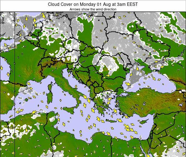 Greece Cloud Cover on Wednesday 22 May at 9am EEST