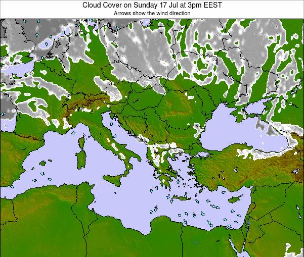 Greece Cloud Cover on Saturday 01 Nov at 8pm EET
