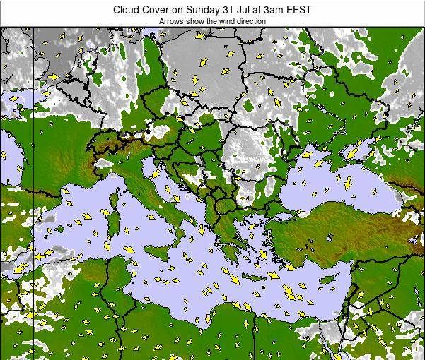 Greece Cloud Cover on Tuesday 11 Mar at 2am EET