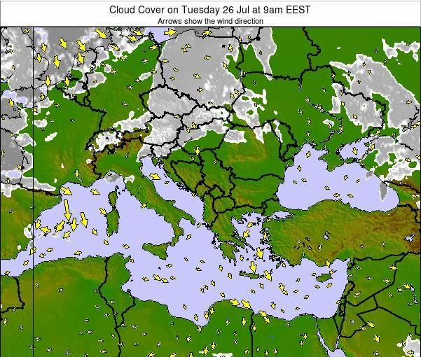 Greece Cloud Cover on Wednesday 23 Jul at 3pm EEST
