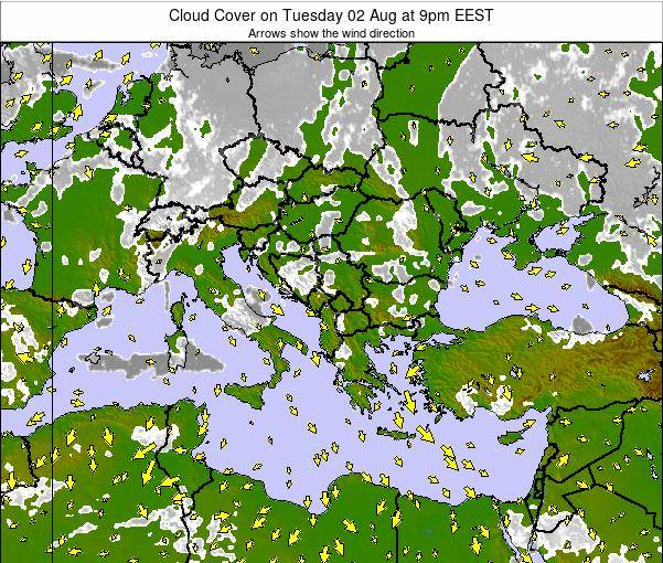 Greece Cloud Cover on Friday 25 Apr at 3pm EEST