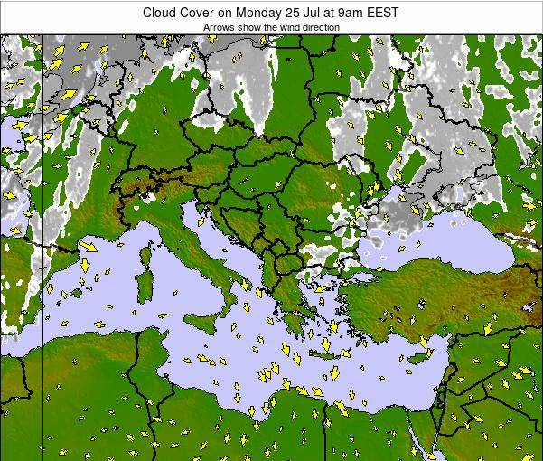 Greece Cloud Cover on Thursday 23 Oct at 9pm EEST