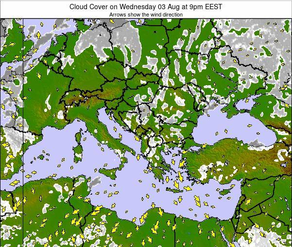 Greece Cloud Cover on Thursday 31 Jul at 3am EEST