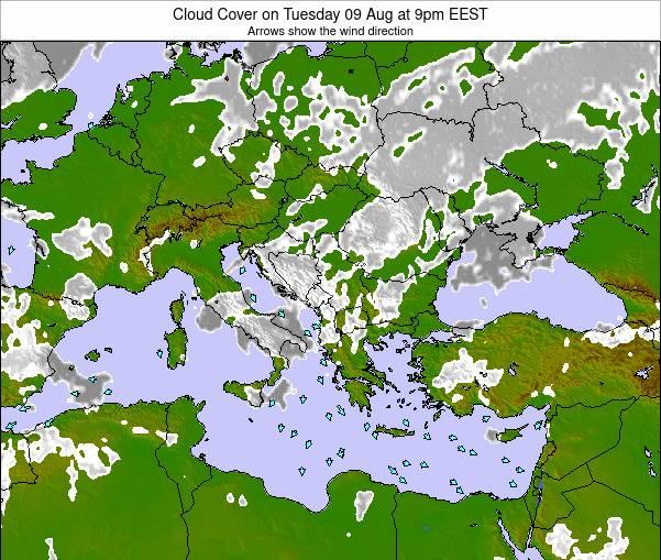 Bulgaria Cloud Cover on Tuesday 21 May at 9pm EEST