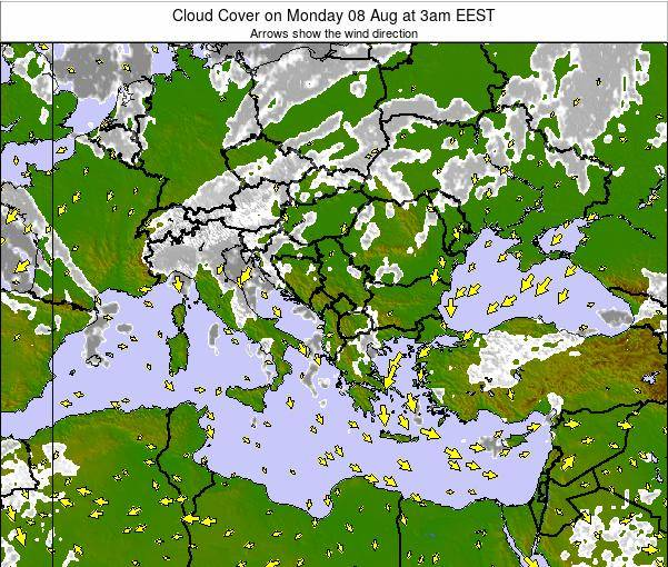 Greece Cloud Cover on Wednesday 30 Jul at 9pm EEST