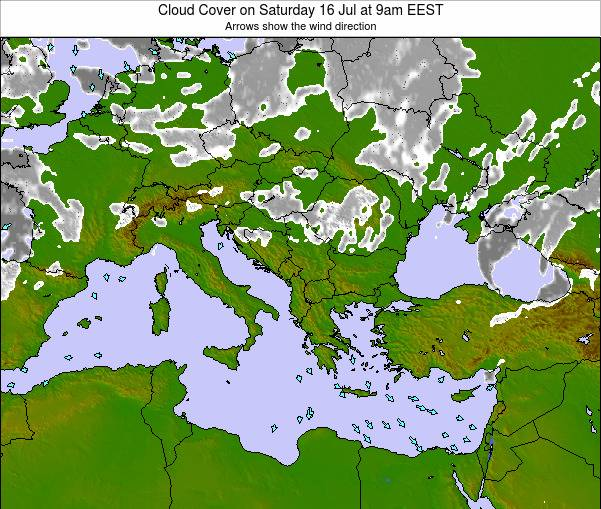 Greece Cloud Cover on Wednesday 29 Mar at 3pm EEST