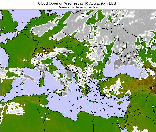 Greece Cloud Cover on Friday 06 Dec at 2pm EET