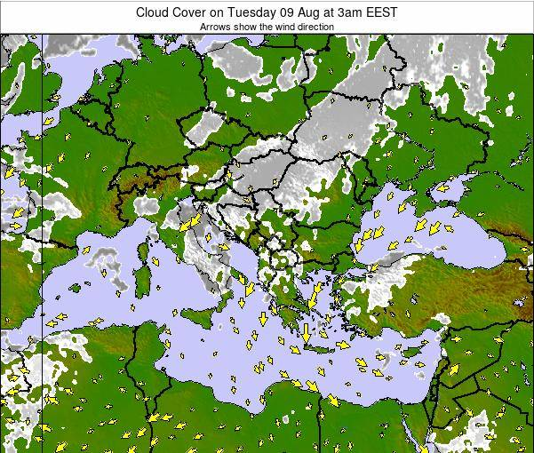 Greece Cloud Cover on Thursday 23 May at 9pm EEST