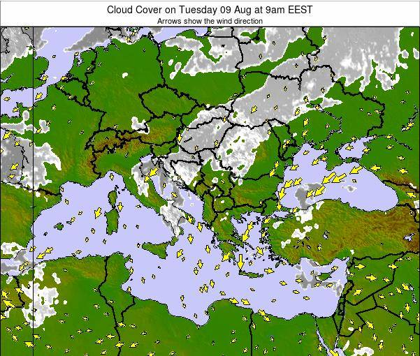 Greece Cloud Cover on Friday 24 Oct at 3am EEST