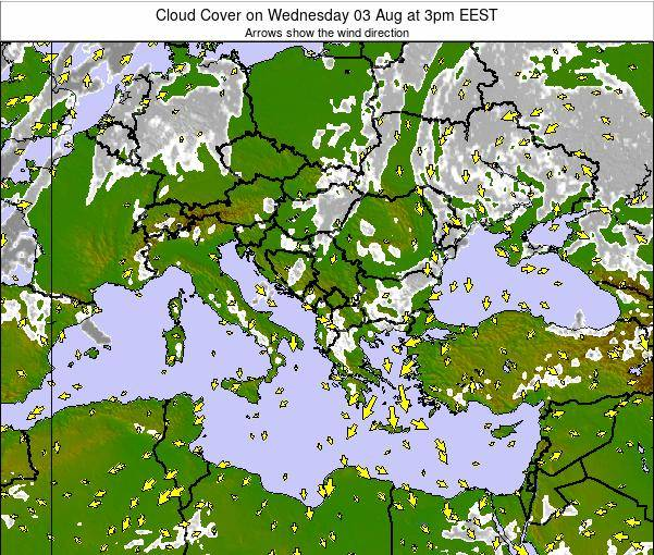 Greece Cloud Cover on Friday 18 Apr at 3am EEST