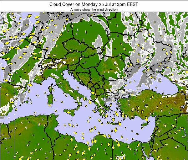 Greece Cloud Cover on Tuesday 11 Mar at 2pm EET