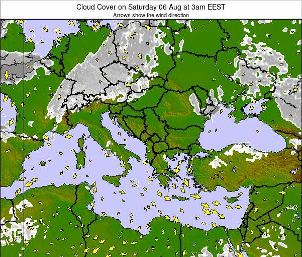 Greece Cloud Cover on Sunday 22 Dec at 2am EET