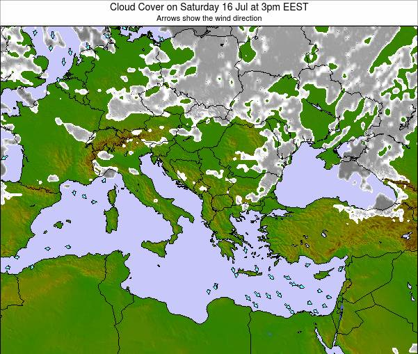 Greece Cloud Cover on Friday 24 Nov at 2pm EET map